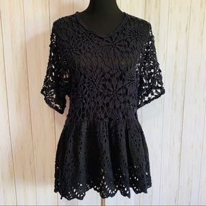 Johnny Was navy & black floral crochet top size S